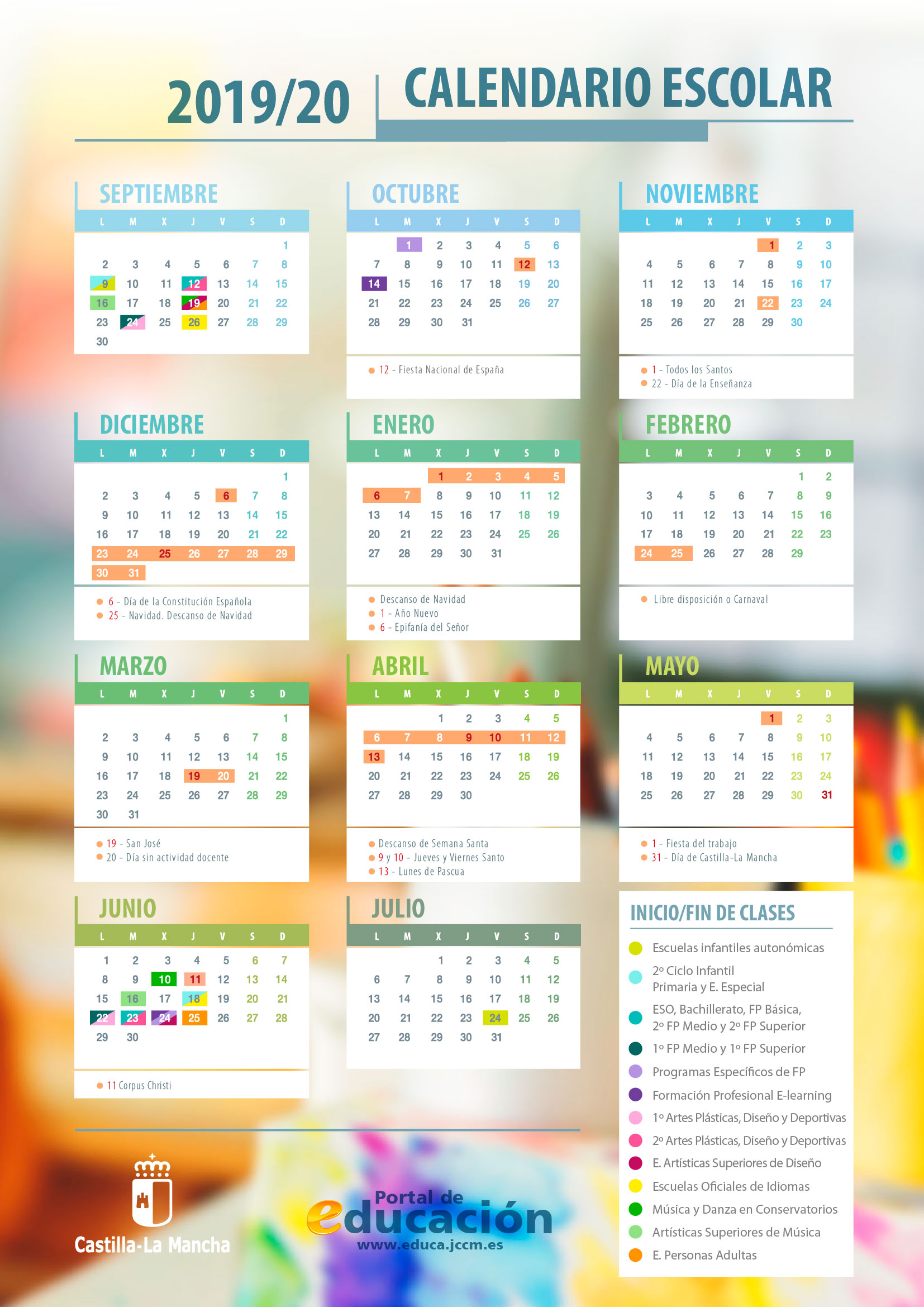 Calendario escolar Castilla-La Mancha 2019/2020